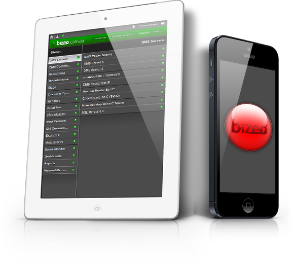 iPad with Bizeo interface and iPhone with red Bizeo indicator